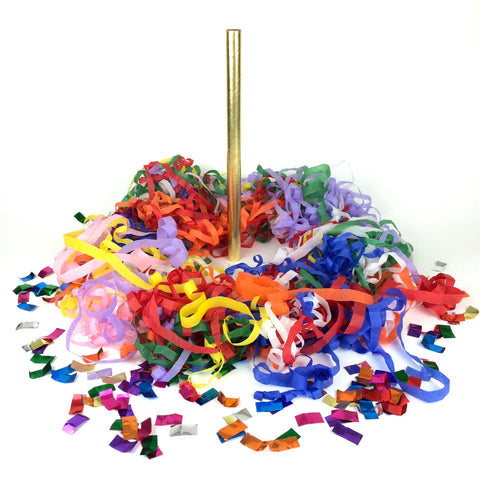Times Square Confetti & Kabuki Streamer Confetti Multicolor / 12-Pack Tissue Streamer Flick Sticks + Metallic Flutters - Custom 12-Packs