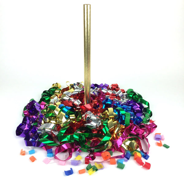 Times Square Confetti & Kabuki Streamer Confetti Multicolor Metallic Streamer Flick Sticks + Bubbles - Custom 12-Pack