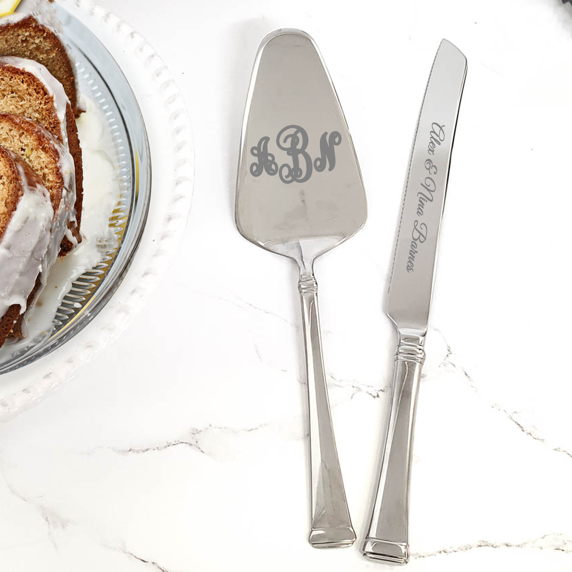 Monogram Cake Set Two Piece Serving Set Personalized Gallery