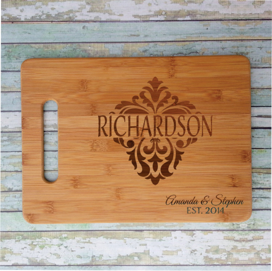 Damask Family Name Cutting Board
