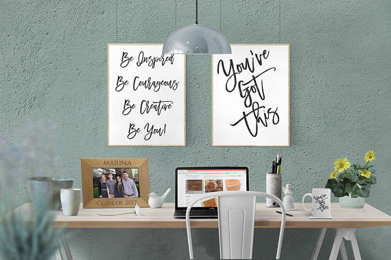 be inspired, be courageous, be creative, be you WALL ARTDIGITAL DOWNLOAD