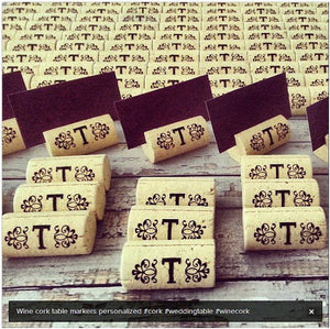 Cork Escort Card Holders Table Markers - Initial between Design - Personalized Gallery - 1