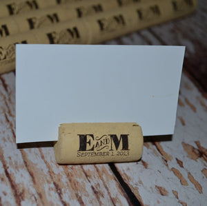 Cork Escort Card Holders Table Markers - Initial between Design - Personalized Gallery - 2