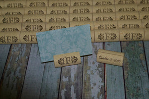 Cork Escort Card Holders Table Markers - Initial between Design - Personalized Gallery - 4