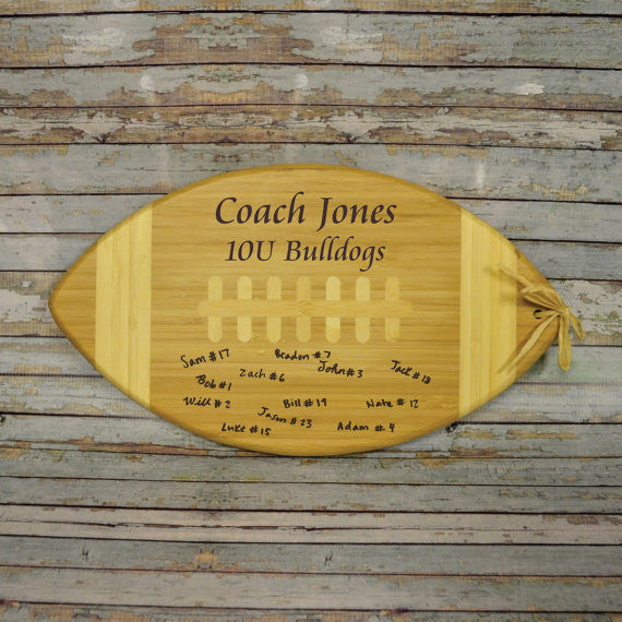 Football Personalized Bamboo Cutting Board Coach Gift - Personalized Gallery - 1