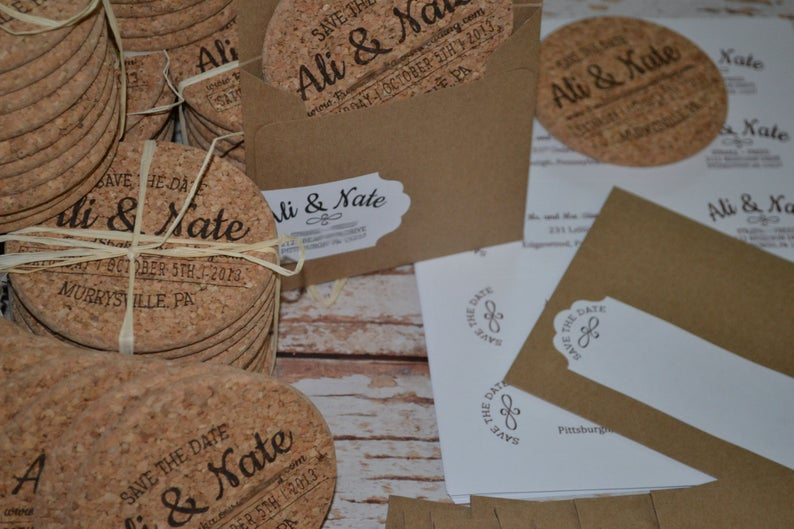 Mason Jar Save the Date Coasters With Envelopes and Labels