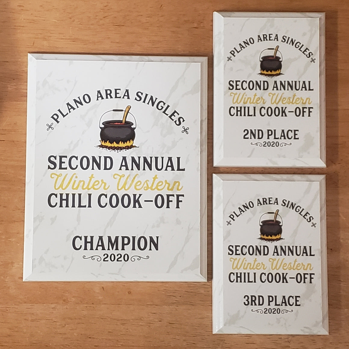 Chili Cook-Off White Marble Plaque Award