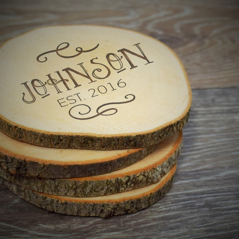 Last Name and Date Wood Slice Coaster
