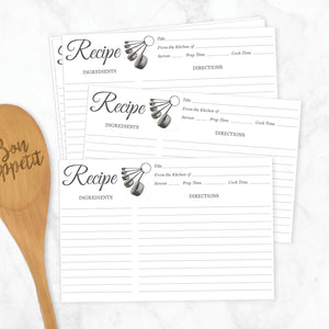 Measuring Cups Recipe Cards