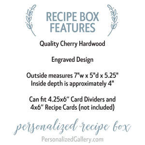Engraved Wooden Recipe Box - Baked with Love