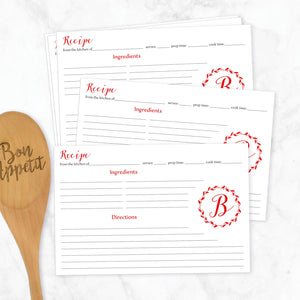 Wreath Monogram Recipe Cards