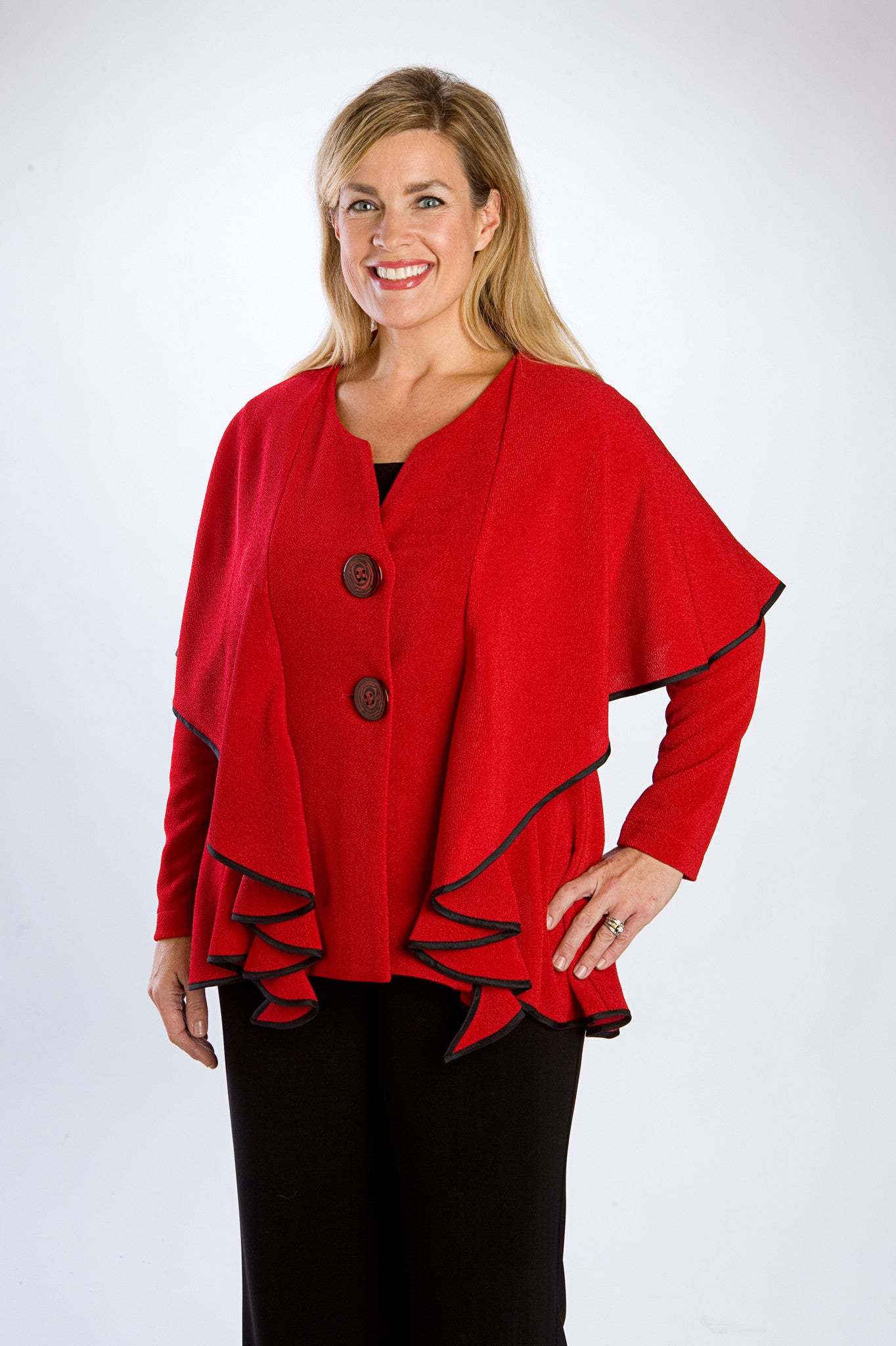 Cherry Red Cape-Collar Jacket