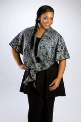 Floral-Collared, Black Vested Cape