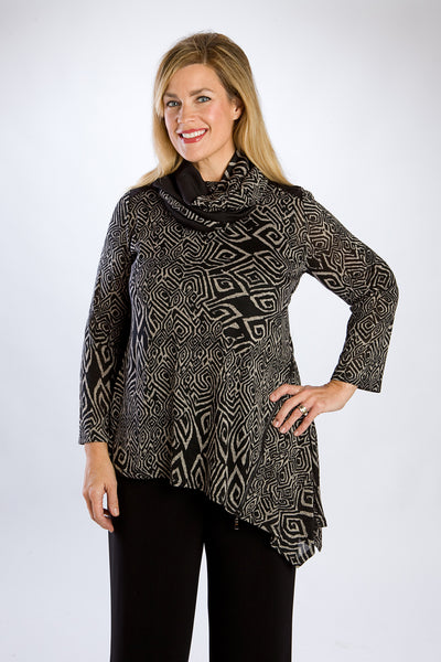 Black Long-sleeve, Aztec Tunic with Scarf
