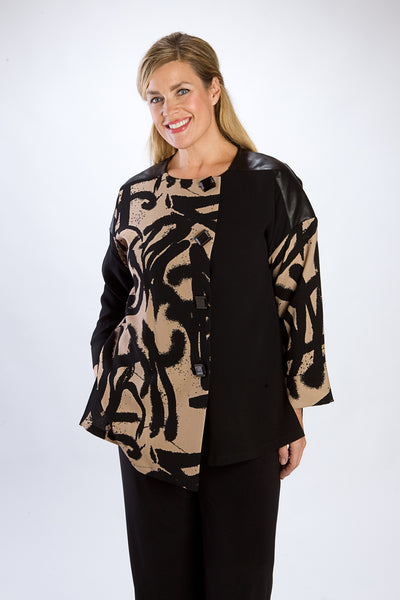 Black Asian Print 4-Button Tunic