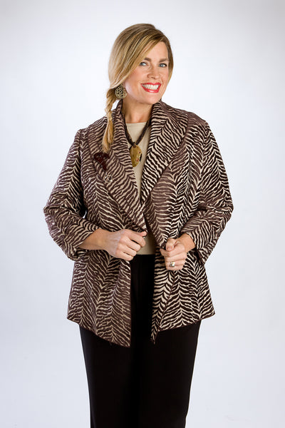Shawl-Collar, Tiger Print Brown Jacket