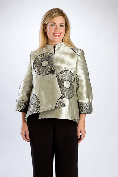 Silver Asian-Inspired Asymmetrical Jacket