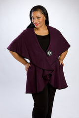Plum Shawl Collar, Cape/Jacket