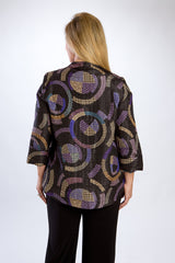 Black Short, Asymmetrical Print Jacket
