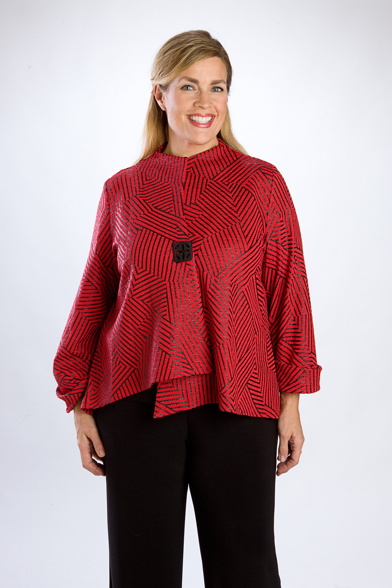 Cherry Red Geometric Asymmetrical Print Jacket