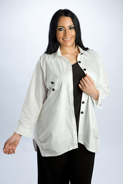 "White ""Boyfriend Shirt"" Blouse"