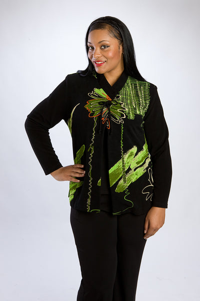 Asian Floral Print Black Single-Button Topper