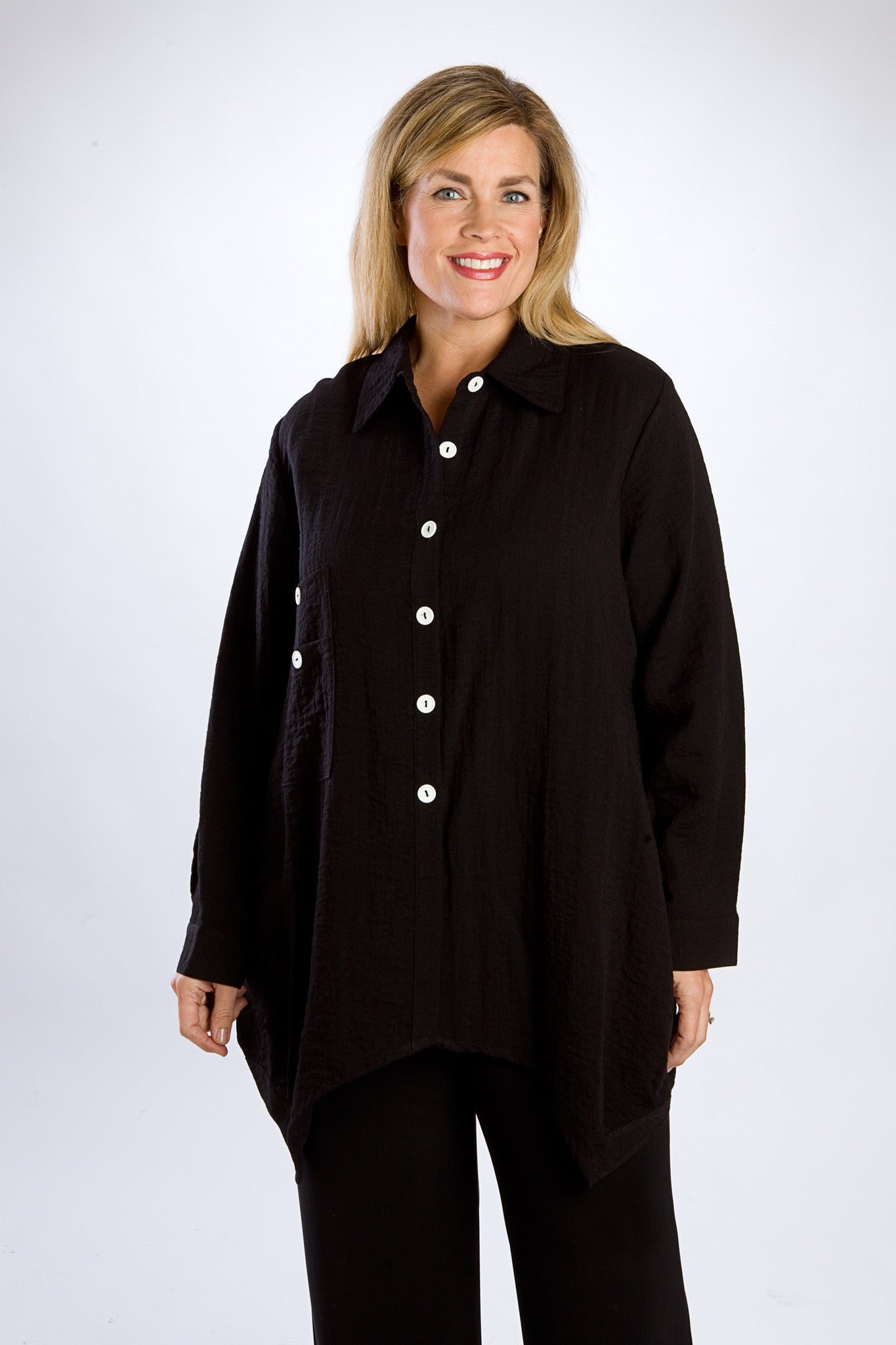 Black & White Button-Down Boyfriend Shirt