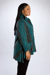 Teal Leopard Print Tunic, 3/4 Length
