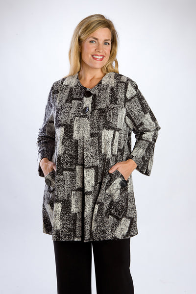 Black & White Geometric Print Jacket, 3/4 Length