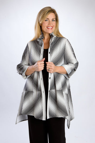 Black & White Striped Swing Tunic, 3/4 Length