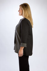 Quilted, Lightweight Black Toggle Button Jacket