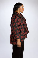 Merlot Wired Ruffle Collar Jacket