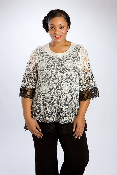 Two-Tone Black & Ivory Lace Tunic