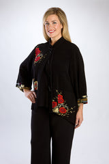 Black, Asian-Inspired Mandarin Collar Jacket