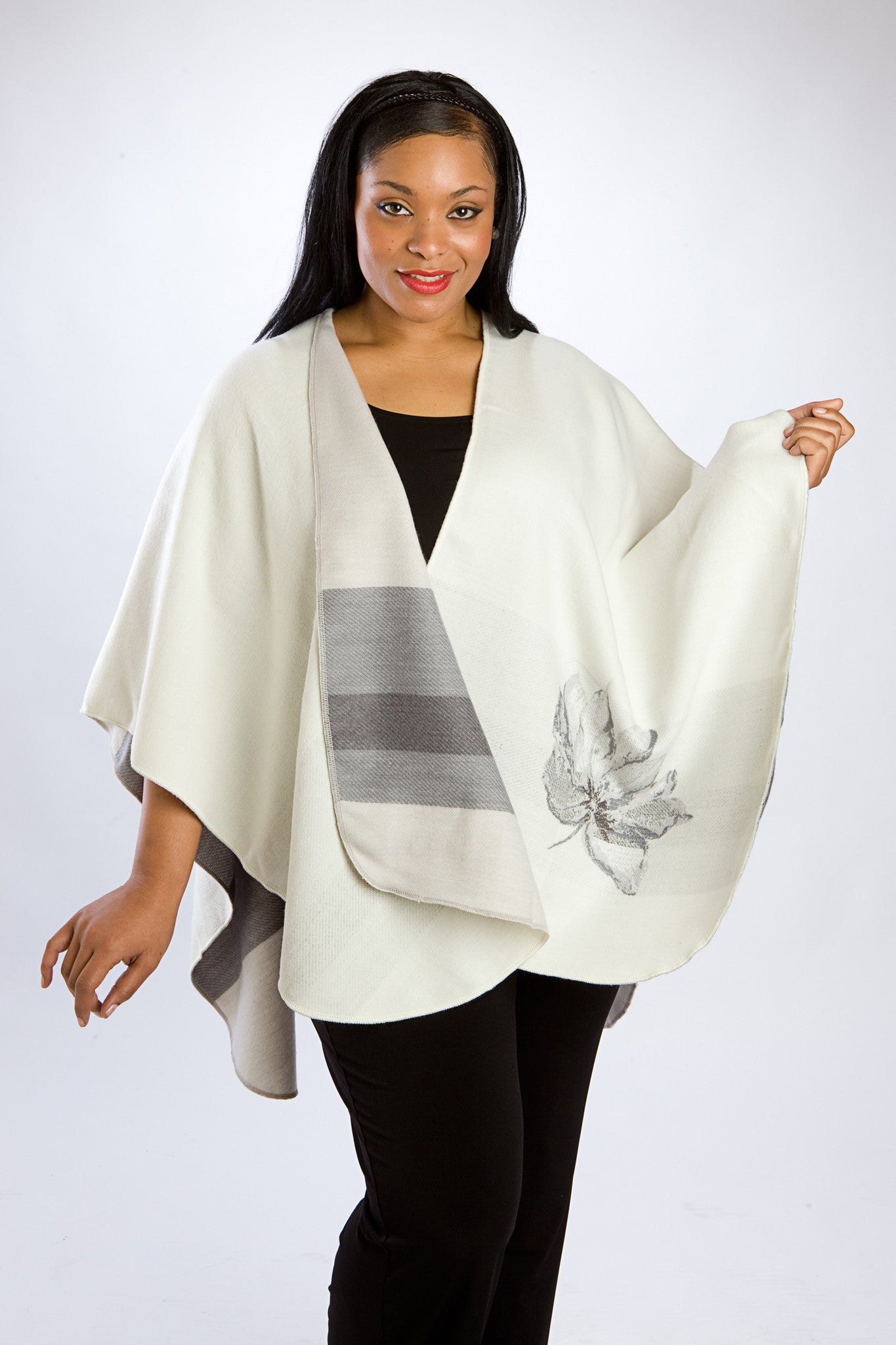 Winter White & Gray Reversible Cape