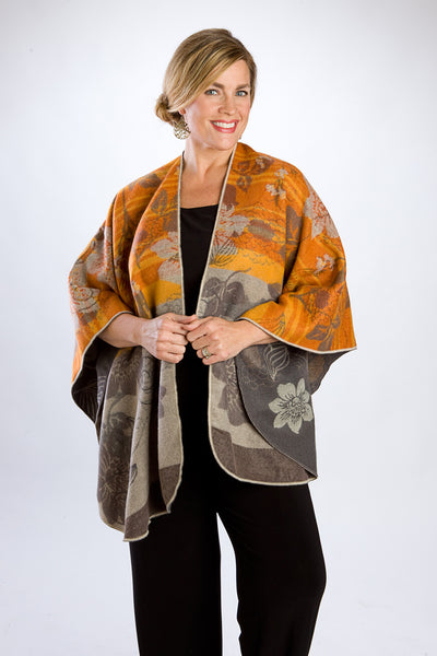 Reversible Pumpkin & Gray Floral Cape