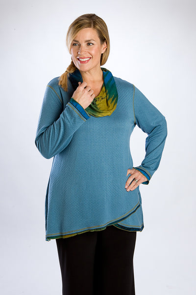 Teal Cowl Neck Tunic