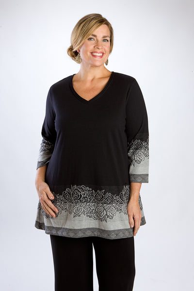 Black & White Bouquet Tunic