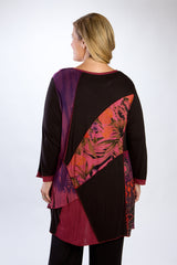 Black, Mixed Print-Block Tunic