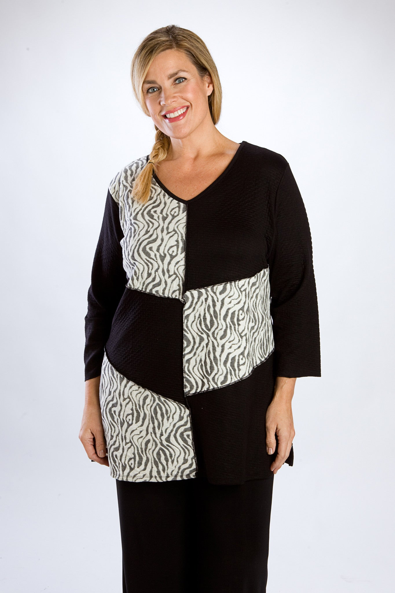 Black Patchwork Animal Block Tunic