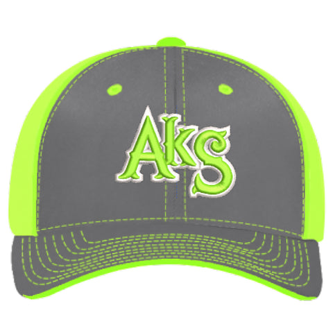 AkS Original Trucker Hat in Graphite & Neon Green