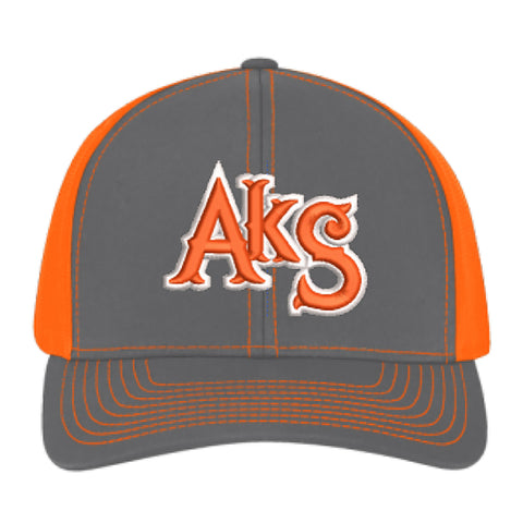 AkS Original Snap-Back Trucker Hat in Graphite & Neon Orange