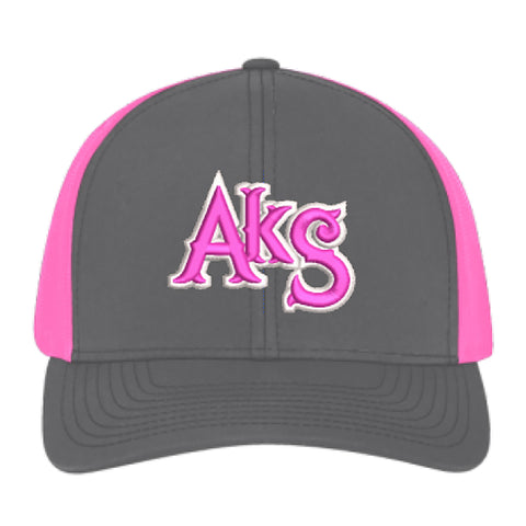 AkS Original Snap-Back Trucker Hat in Graphite & Neon Pink