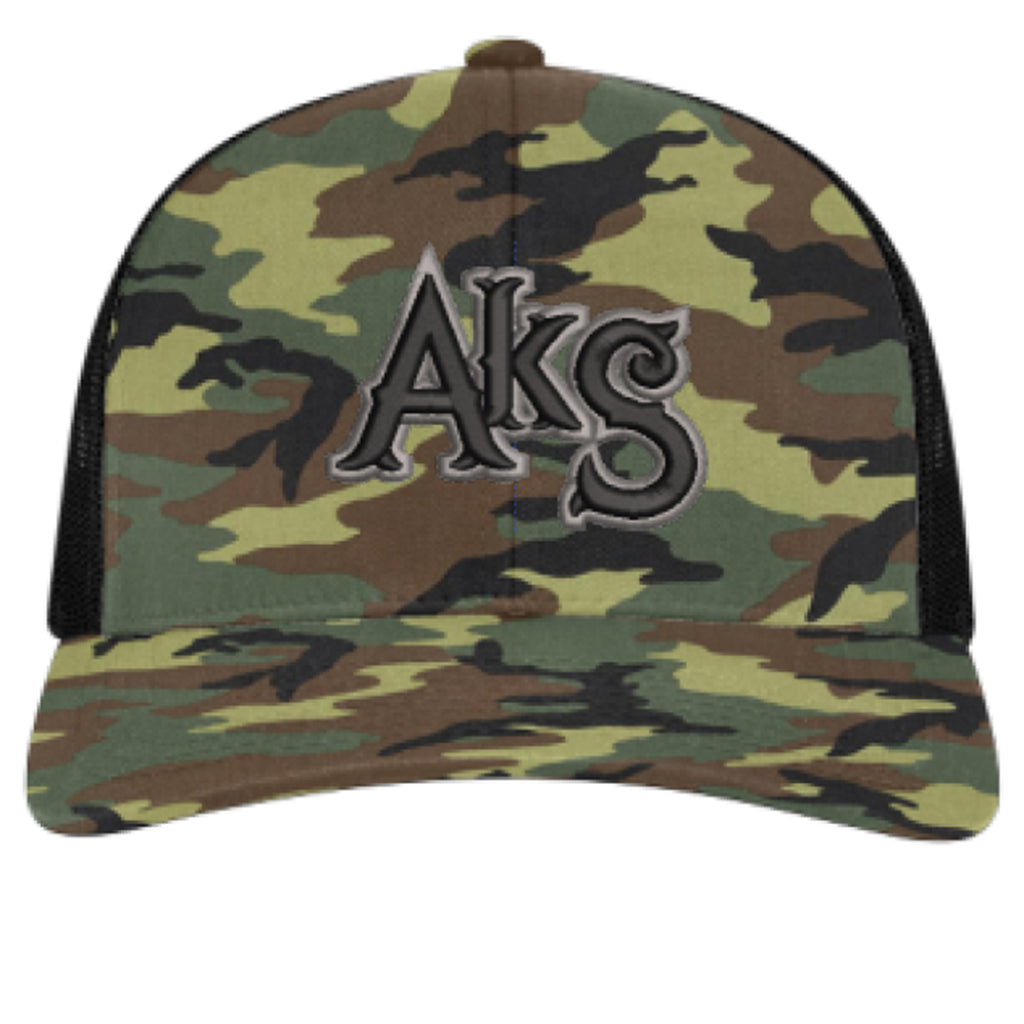 AkS Original Snap-Back Trucker hat in Army Camo and Black