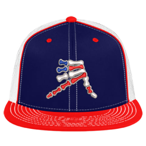 AkS Bones Stripes Flatbill Trucker hat in Navy, White and Red