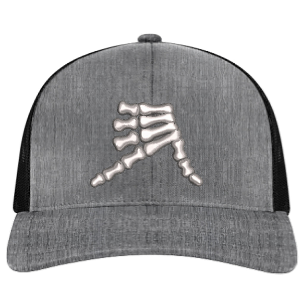 AkS Bones Snap-Back Trucker hat in Grey Heather and Black