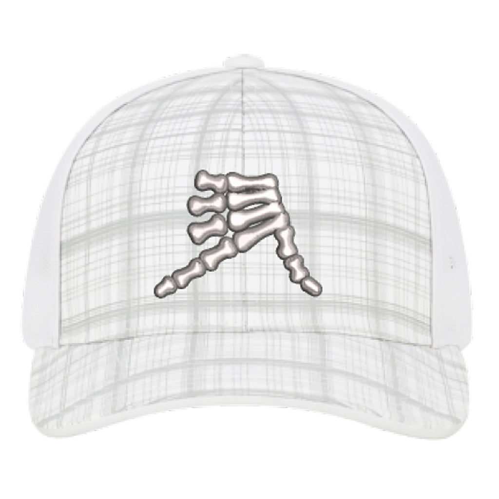 AkS Bones Snap-Back Trucker hat in White Hatch and White
