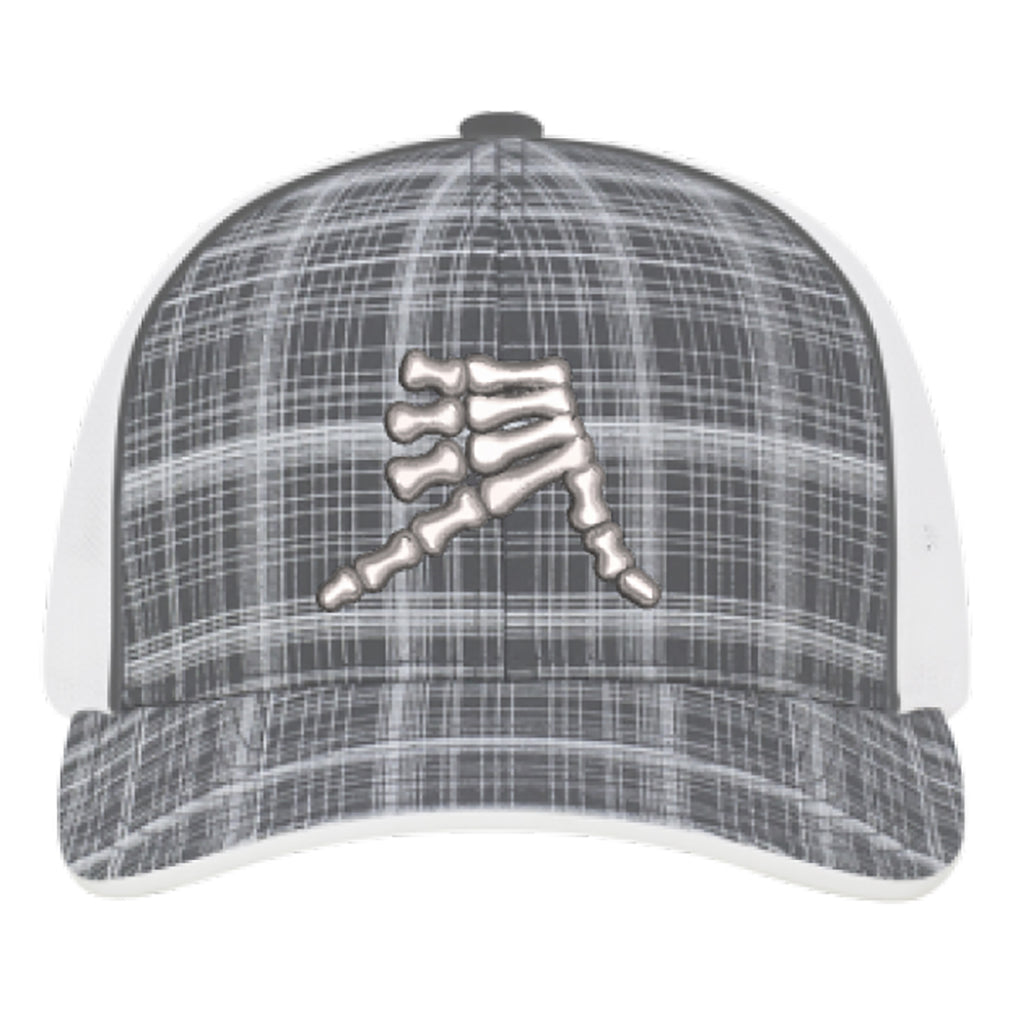 AkS Bones Snap-Back Trucker hat in Graphite Hatch and White