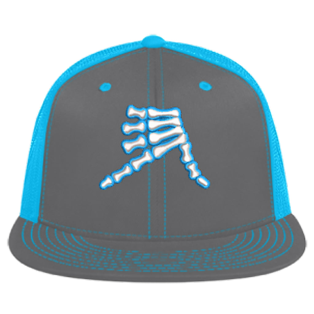 AkS Bones Flatbill Trucker Hat in Graphite & Neon Blue