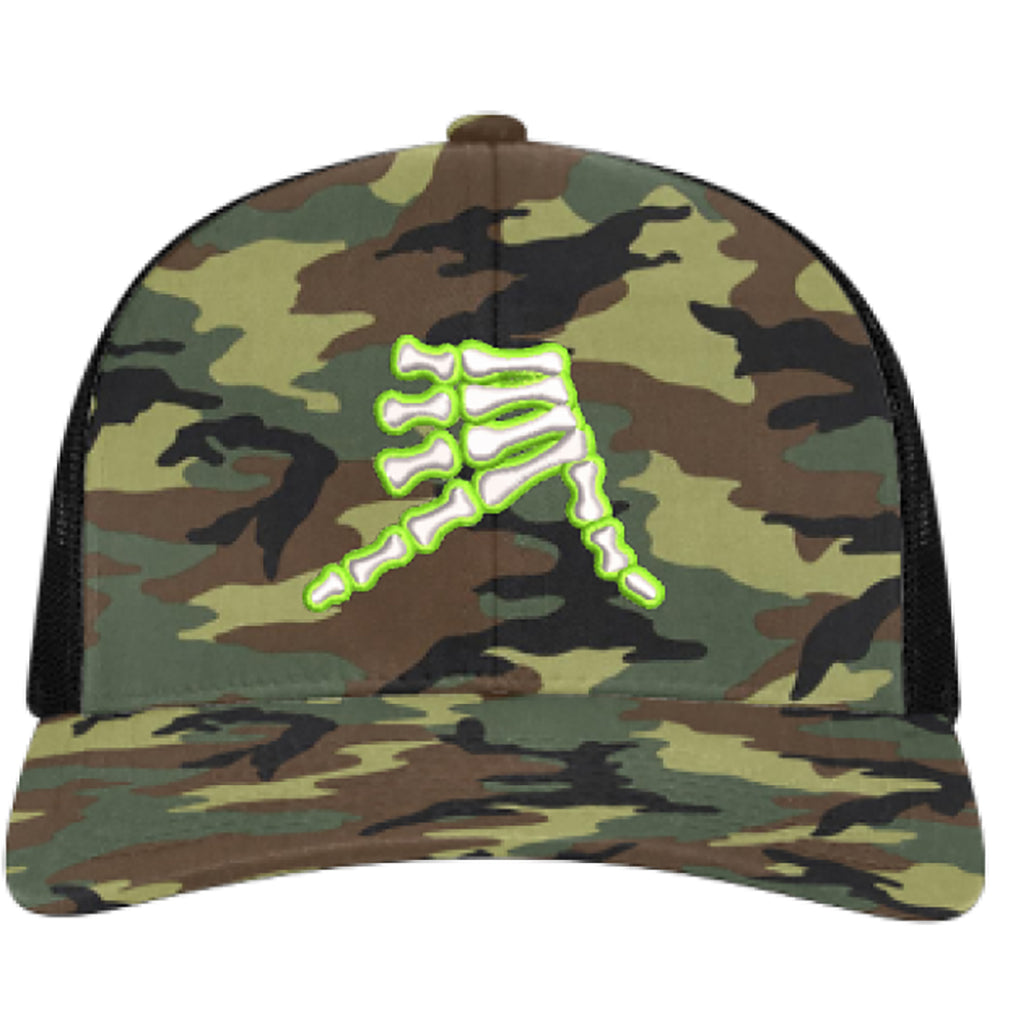 AkS Bones Snap-Back Trucker Hat in Army Camo and Black